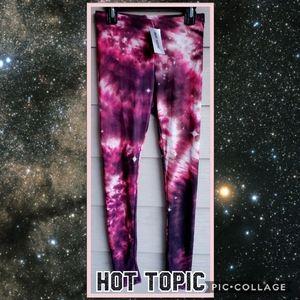 HOT TOPIC Red & Black Bright Galaxy Leggings